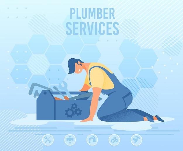 Reparador con caja de herramientas en banner de servicio de fontanero