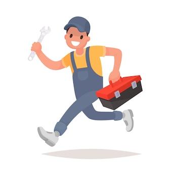 El reparador con las herramientas se está ejecutando. servicio tecnico, ilustracion en estilo plano