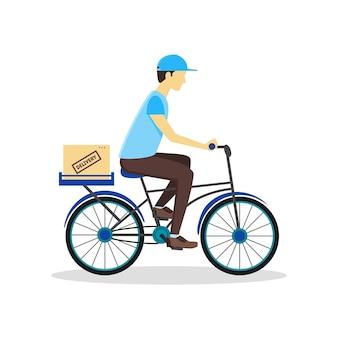 Repartidor de bicicletas con caja de cartón. estilo de servicio logístico.