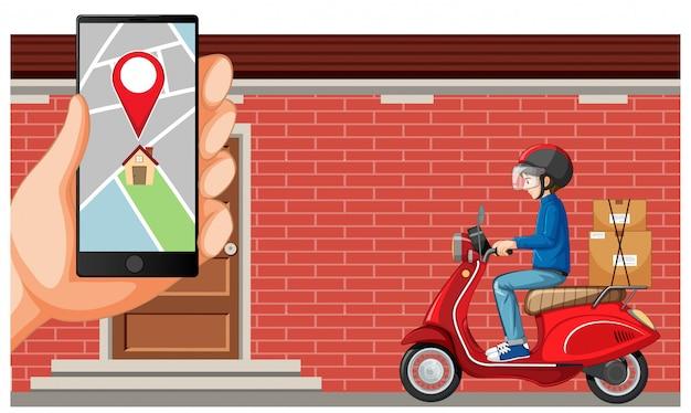 Repartidor buceando motocicleta o moterbike con pantalla de mapa en smartphone