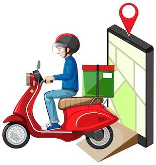 Repartidor buceando motocicleta o moterbike con pantalla de mapa en tableta