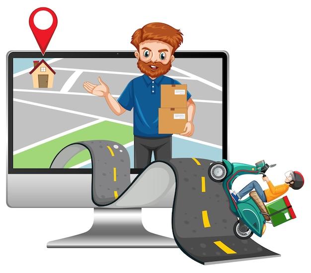 Repartidor cabalgando por la carretera con mensajería en la pantalla de la computadora