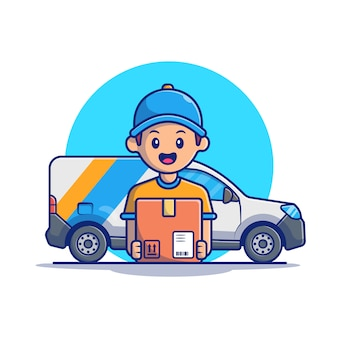 Repartidor con caja y camión ilustración. concepto de envío aislado. estilo plano de dibujos animados