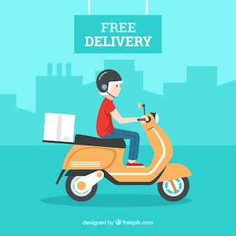 Repartidor con caja de cartón y conduciendo una scooter