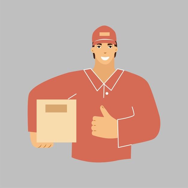 Un repartidor con una caja en la mano. un mensajero con uniforme rojo. ilustración vectorial.