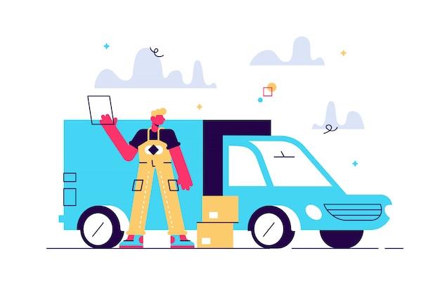 Repartidor con cajas de cartón frente a la camioneta como servicio de entrega local y concepto de envío. entrega de coche puerta a puerta por mensajería ilustración sobre fondo blanco.