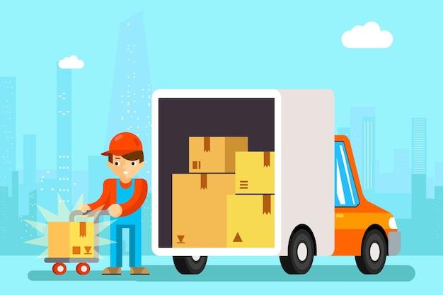 Repartidor descarga cajas de coches de reparto. transporte de carga, cartón y vehículo,