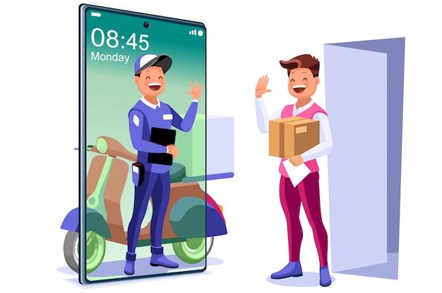 Repartidor entregando paquetes en casa