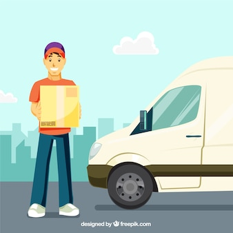 Repartidor y furgoneta con diseño plano