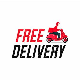 Repartidor gratuito montando un scooter.