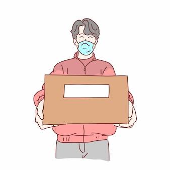Repartidor con máscara médica con caja dibujada a mano