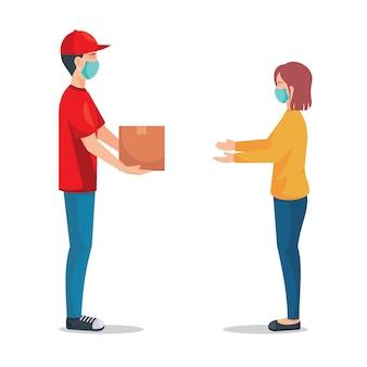 Repartidor con máscara médica y entregar el paquete al cliente