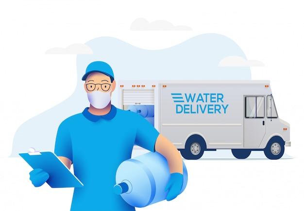 Repartidor en máscara protectora médica sosteniendo una botella grande con agua limpia y camión de reparto en el fondo.
