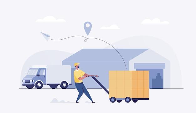 Repartidor, mensajero de carro de carga de caja que lleva paquetes en el camión.