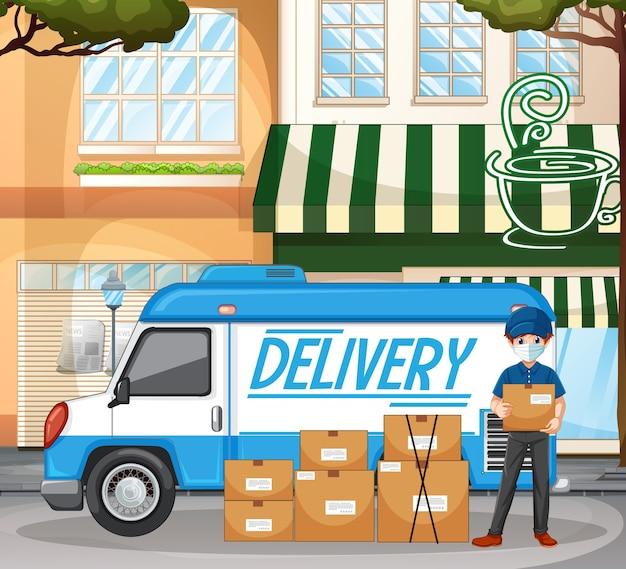 Repartidor o mensajero stand por furgoneta de reparto con paquetes