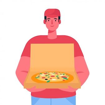 Repartidor de pizza con caja de cartón abierta con pizza dentro pedido de entrega.