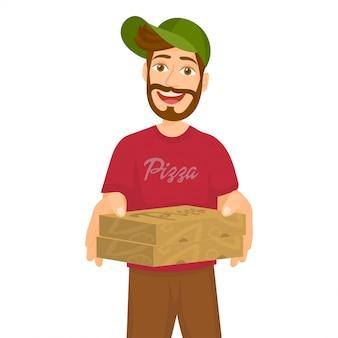 Repartidor de pizza con cajas de cartón