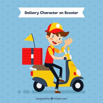 Repartidor de pizza feliz en scooter