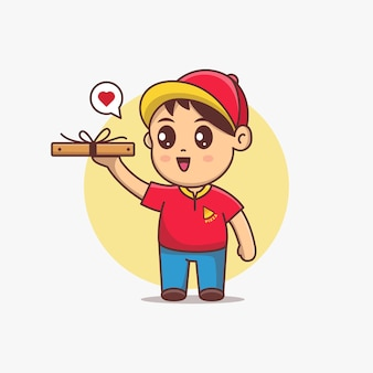 Repartidor de pizza lindo mantenga la caja de pizza de dibujos animados ilustración vectorial. personaje de dibujos animados kawaii con uniforme rojo