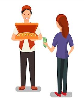 Repartidor de pizza y personajes del cliente