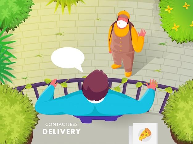 Repartidor de pizzas hablando con el cliente hombre de pie en el techo con vista a la naturaleza para el concepto de entrega sin contacto.