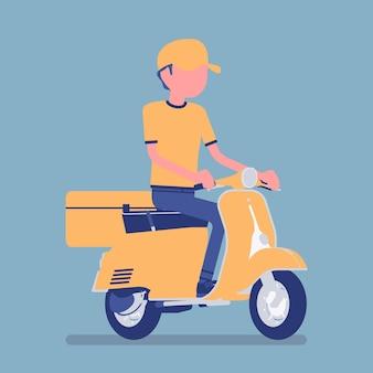 Repartidor de scooter. el trabajador del servicio de mensajería entrega alimentos, pedidos o paquetes al cliente, ordenando en línea el envío urgente de la ciudad. ilustración de vector con personaje sin rostro