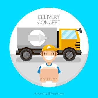 Repartidor sonriente y camión grande