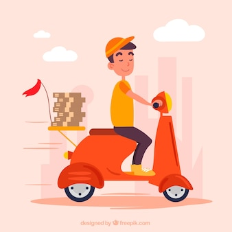 Repartidor sonriente en scooter con cajas de pizza