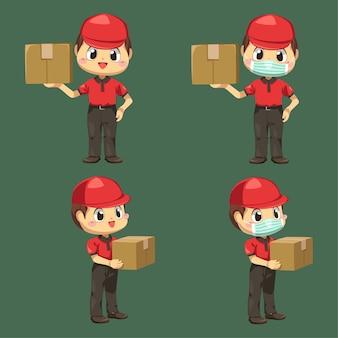 Repartidor con uniforme y gorra con caja de paquetería y sobre en personaje de dibujos animados, ilustración plana aislada