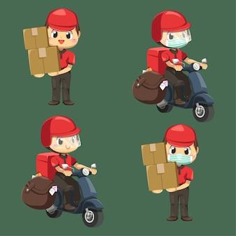 Repartidor vestido con uniforme y gorra con caja de paquetería caminando y montando motocicleta para enviar al cliente en personaje de dibujos animados, ilustración plana aislada