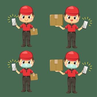 Repartidor vestido con uniforme y gorra con caja de paquetería y comprobando el teléfono móvil en personaje de dibujos animados, ilustración plana aislada