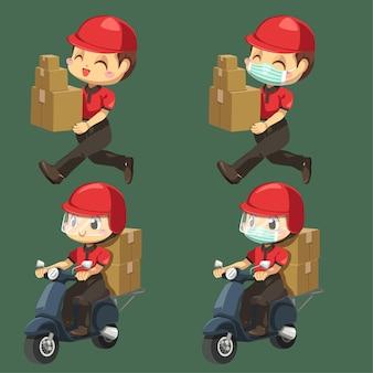 Repartidor vestido con uniforme y gorra con pila de caja de paquetería caminando y montando motocicleta para enviar al cliente en personaje de dibujos animados, ilustración plana aislada
