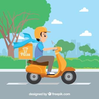 Reparto de pizza adorable en scooter