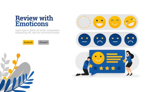 Repasar con emoticonos. personas que dan calificaciones y sugerencias con emoticonos ilustración vectorial.