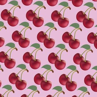 Repetitivo de cerezas rojas de fondo rosa