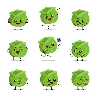 Repollo icono animación dibujos animados personaje mascota pegatina expresión triste feliz llorar enamorado idea saltar volea gimnasio