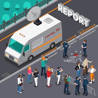 Reportaje de escena de asesinato ilustración isométrica