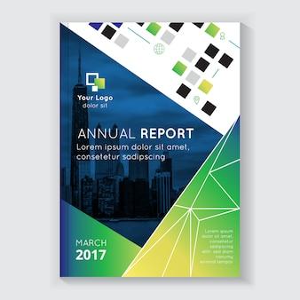 Reporte anual de diseño de folleto con titular.