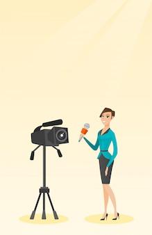 Reportera de televisión con micrófono y cámara.