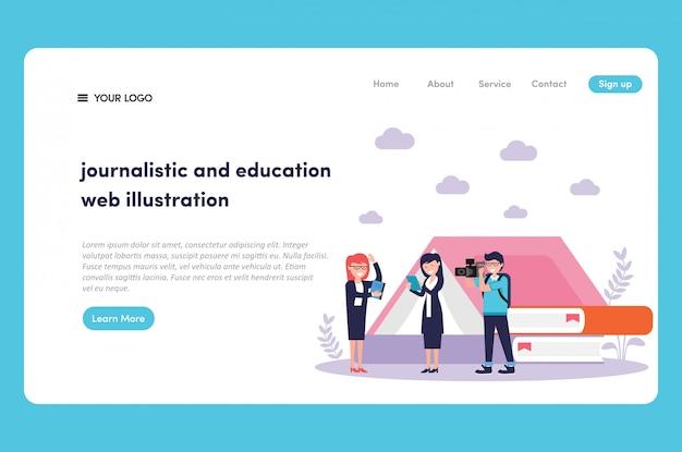 Reportero y camarógrafos haciendo actividad periodística para educación web ilustración y página de inicio premium vector