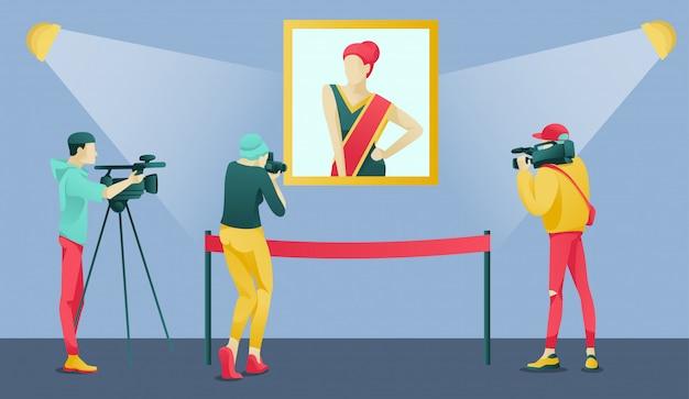 Reportero de dibujos animados, periodista, camarógrafos en el museo