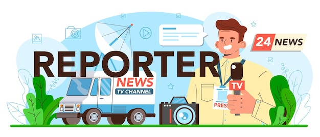 Reportero encabezado tipográfico periódico internet y radio periodismo