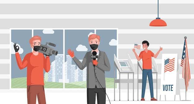 El reportero de televisión cubre noticias sobre la ilustración de las elecciones estadounidenses.