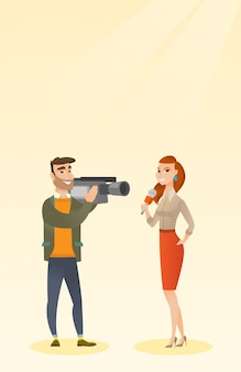 Reportero de televisión y operador