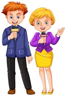 Reporteros de noticias con micrófonos