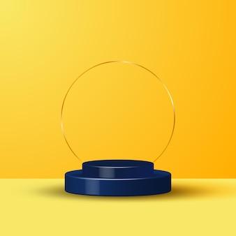 Representación 3d realista de amarillo y podio azul.