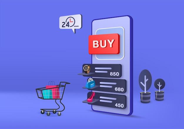 Representación 3d para la venta, compras en línea, comercio electrónico, comercio electrónico móvil.