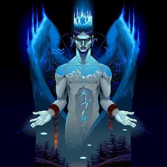 Representación de un ángel encadenado oscuro.