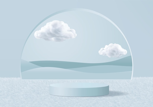 Representación azul de fondo 3d con podio y escena de nube mínima