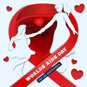 Representación del día del sida con dos mujeres cogidas de la mano en papel